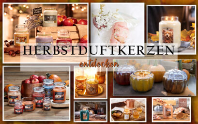 Eine Collage aus verschiedenen Duftkerzen für den Herbst, die Marken auf dem Bild sind Candle-Lite, Yankee Candle, Goose Creek Candle, Bath And Body Works sowie JuwelKerze und Village Candle.
