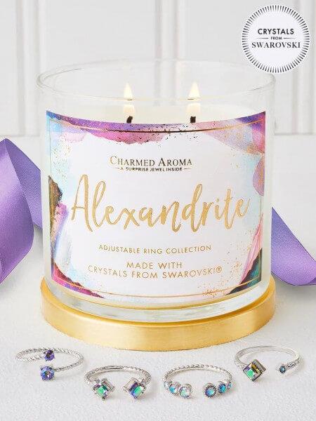 Alexandrit Geburtsstein Kerze mit Swarovski ® Kristallen (Ring)