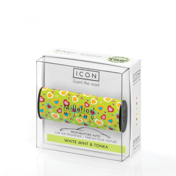 """Car Air Freshener Icon """"Cuori e Fiori"""" 08 - White Mint & Tonka - Millefiori"""