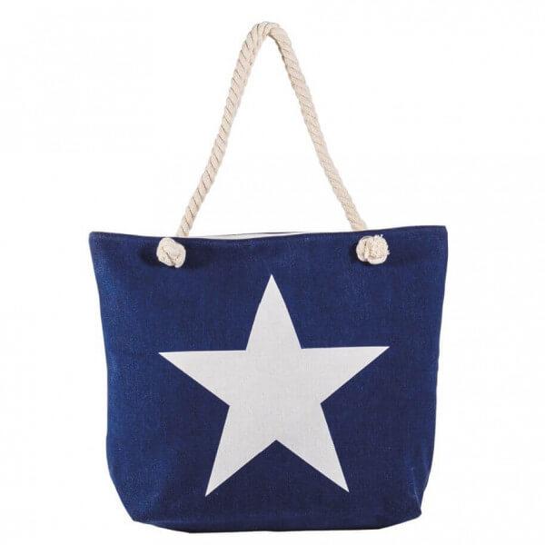 Shopping-Tasche Navy mit Stern 001