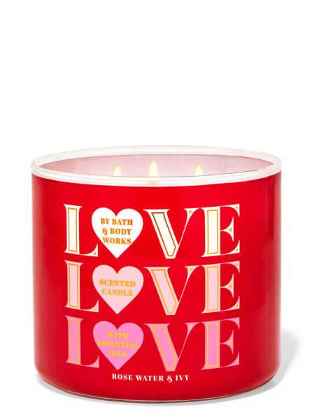 3-Docht Kerze - Love Love Love - Rose Water & Ivy - 411g