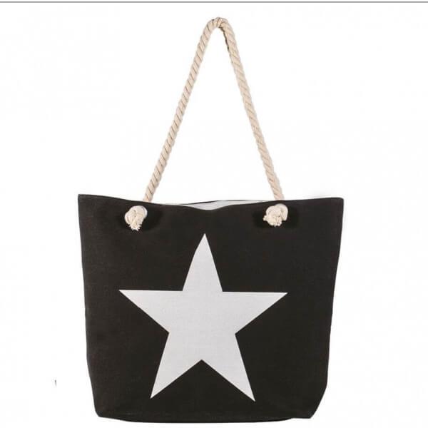 Shopping-Tasche Black mit Stern 003