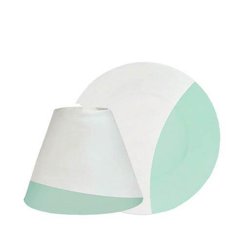 Serene Sandblast Aqua Lampenschirm & Tellerset klein