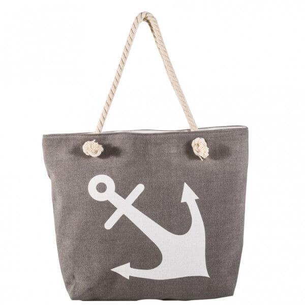 Shopping-Tasche grau mit Anker 005