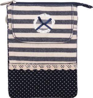 Patchwork Handtasche Umhängetasche (Navy White 083)
