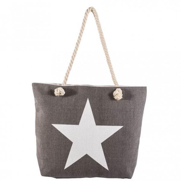 Shopping-Tasche Grau mit Stern 002