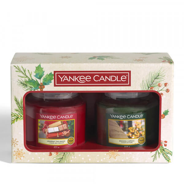 2 mittleres Jar Geschenkset (Singing Carols & Unwrap The Magic) von Yankee Candle