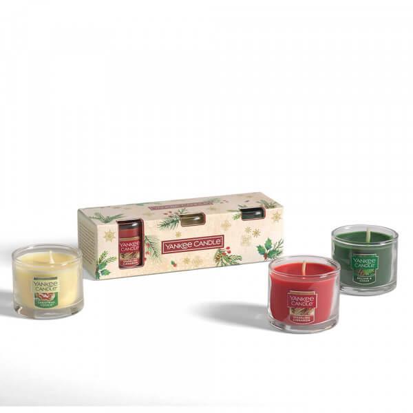 Geschenkset mit 3 kleinen Jars von Yankee Candle Inhalt aus der Verpackung
