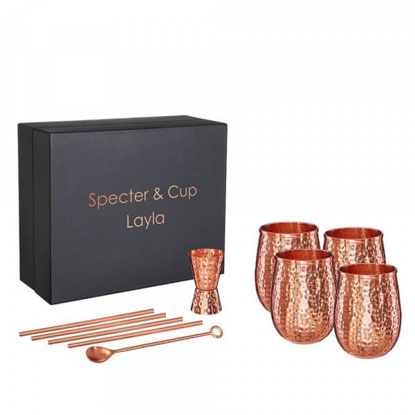Specter & Cup - Layla 4x Kupferbecher 250ml & Accessoires Set