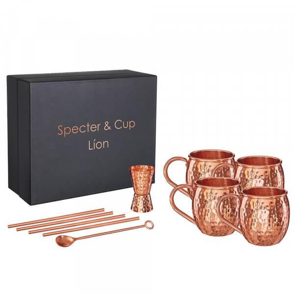 Specter & Cup - Lion 4x Kupferbecher 250ml & Accessoires Set