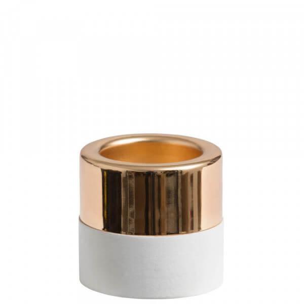 White Wood & Metal Teelichthalter gold